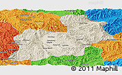 Shaded Relief Panoramic Map of Keng Tung, political outside