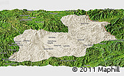 Shaded Relief Panoramic Map of Keng Tung, satellite outside