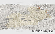 Shaded Relief Panoramic Map of Keng Tung, semi-desaturated
