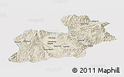 Shaded Relief Panoramic Map of Keng Tung, single color outside