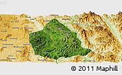 Satellite Panoramic Map of Kunhing, physical outside