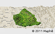 Satellite Panoramic Map of Kunhing, shaded relief outside