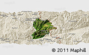 Satellite Panoramic Map of Kunlong, shaded relief outside