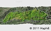 Satellite Panoramic Map of Kutkai, semi-desaturated