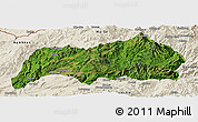 Satellite Panoramic Map of Kutkai, shaded relief outside