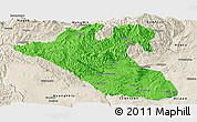Political Panoramic Map of Kyaukme, shaded relief outside