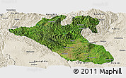 Satellite Panoramic Map of Kyaukme, shaded relief outside