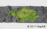 Satellite Panoramic Map of Lai-Hka, desaturated