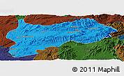 Political Panoramic Map of Lashio, darken