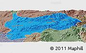 Political Panoramic Map of Lashio, semi-desaturated