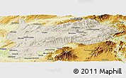 Shaded Relief Panoramic Map of Lashio, physical outside