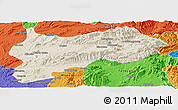 Shaded Relief Panoramic Map of Lashio, political outside