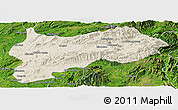 Shaded Relief Panoramic Map of Lashio, satellite outside