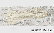Shaded Relief Panoramic Map of Lashio, semi-desaturated