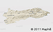 Shaded Relief Panoramic Map of Lashio, single color outside