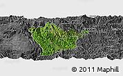 Satellite Panoramic Map of Man Hpang, desaturated