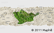 Satellite Panoramic Map of Man Hpang, shaded relief outside