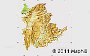 Physical Map of Shan, cropped outside