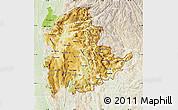 Physical Map of Shan, lighten