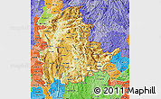 Physical Map of Shan, political shades outside
