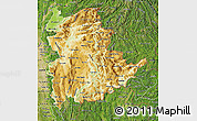 Physical Map of Shan, satellite outside