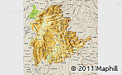 Physical Map of Shan, shaded relief outside