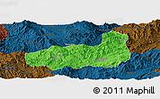 Political Panoramic Map of Mong Hpayak, darken