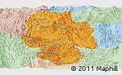 Political Panoramic Map of Mong Hsat, lighten
