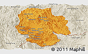 Political Panoramic Map of Mong Hsat, shaded relief outside