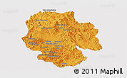 Political Panoramic Map of Mong Hsat, single color outside
