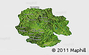 Satellite Panoramic Map of Mong Hsat, single color outside