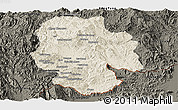 Shaded Relief Panoramic Map of Mong Hsat, darken