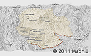 Shaded Relief Panoramic Map of Mong Hsat, desaturated