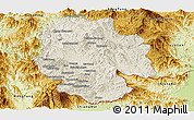 Shaded Relief Panoramic Map of Mong Hsat, physical outside