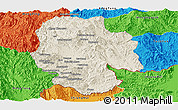 Shaded Relief Panoramic Map of Mong Hsat, political outside