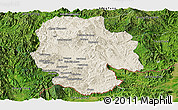 Shaded Relief Panoramic Map of Mong Hsat, satellite outside