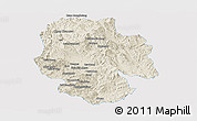 Shaded Relief Panoramic Map of Mong Hsat, single color outside