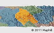 Political Panoramic Map of Mong Hsu, semi-desaturated