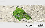Satellite Panoramic Map of Mong Hsu, shaded relief outside