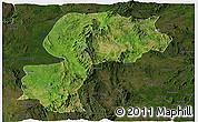 Satellite Panoramic Map of Mong Kung, darken