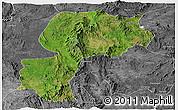 Satellite Panoramic Map of Mong Kung, desaturated