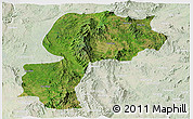 Satellite Panoramic Map of Mong Kung, lighten