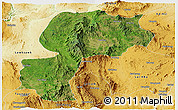 Satellite Panoramic Map of Mong Kung, physical outside
