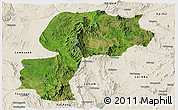 Satellite Panoramic Map of Mong Kung, shaded relief outside