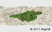 Satellite Panoramic Map of Mong Mao, shaded relief outside