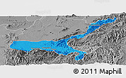 Political Panoramic Map of Mong Mit, desaturated