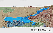 Political Panoramic Map of Mong Mit, semi-desaturated