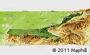 Satellite Panoramic Map of Mong Mit, physical outside