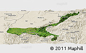 Satellite Panoramic Map of Mong Mit, shaded relief outside