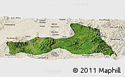 Satellite Panoramic Map of Mong Nai, shaded relief outside